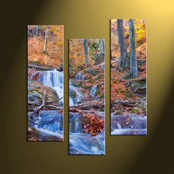 home decor, 3 Piece Wall Art, forest multi panel art, scenery canvas art, nature multi panel art, waterfall pictures