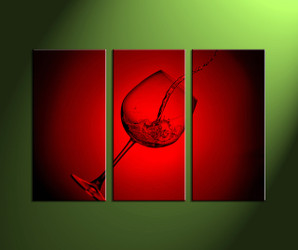 Home Wall Décor, 3 Piece Wall Art, wine large canvas, scenery art, glass artwork