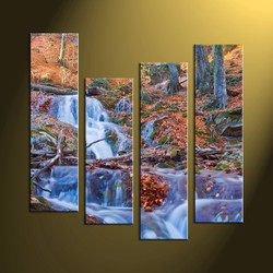 home decor, 4 piece canvas wall art, waterfall multi panel canvas, scenery canvas art, autumn group canvas