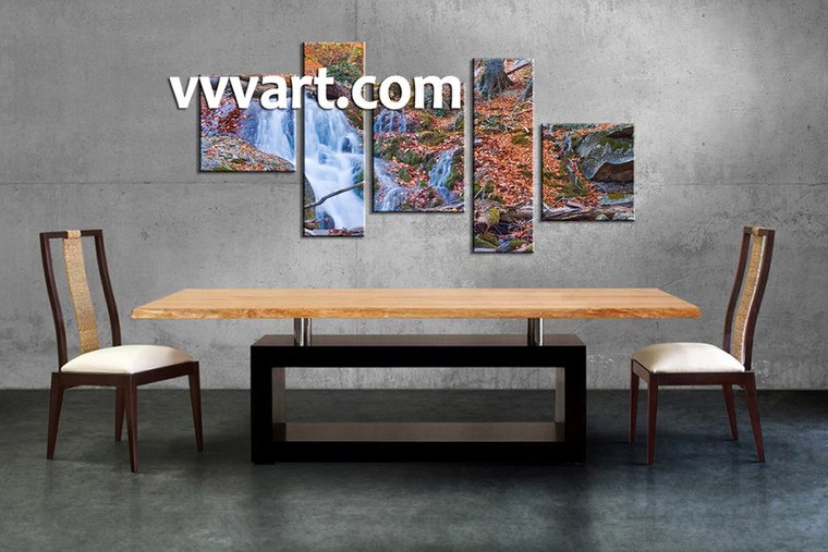 dining room art, 5 piece canvas art prints,nature canvas print, scenery group canvas, forest artwork
