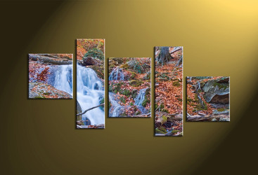 5 Piece Brown Scenery Waterfall Canvas Photography