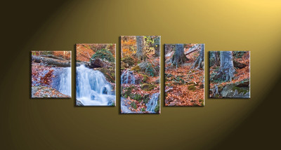 home decor, 5 Piece Wall Art, forest multi panel art, scenery canvas art, nature multi panel canvas