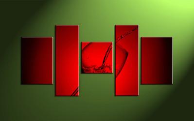 Home décor, wine wall art, 5 piece art, glass multi panel art, wine canvas print