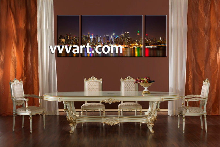 Dining Room Wall Art, 3 piece canvas art prints,city scape canvas print, city canvas print, city scape wall decor