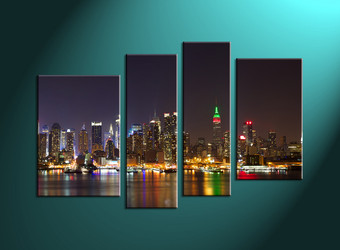 Home Décor,4 piece canvas art prints,canvas print, city art, city scape photo canvas, city group canvas