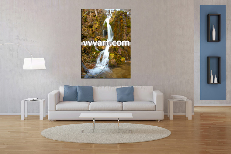 living room wall art, 2 Piece Wall Art, forest multi panel art, scenery wall art, waterfall huge pictures