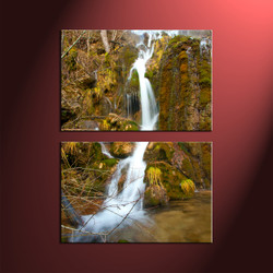 2 Piece Green Scenery Waterfall Canvas Prints,Vertical Wall Art