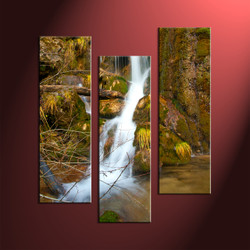scenery canvas art, home decor, 3 piece canvas wall art, forest multi panel canvas, waterfall group canvas