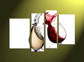 Home wall art, 4 piece multi panel art, wine large pictures, white wine photo canvas