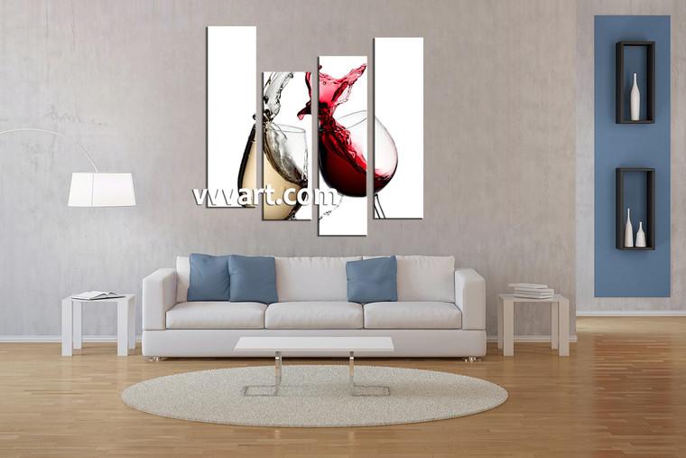 Living room Art, 4 piece canvas art prints, red wine canvas print, scenery group canvas, red wine artwork