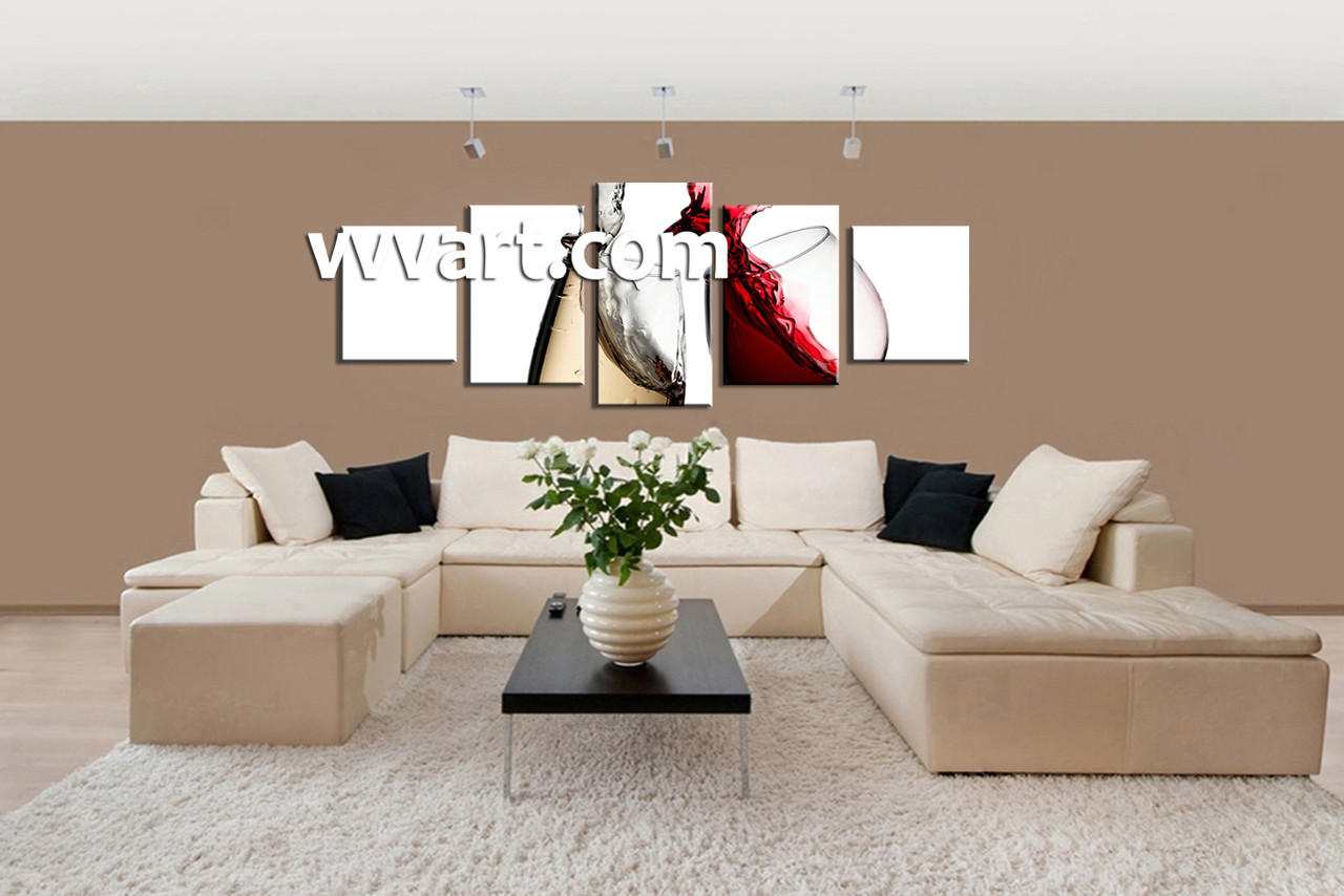5 Piece White Canvas Kitchen Red Wine Huge Pictures