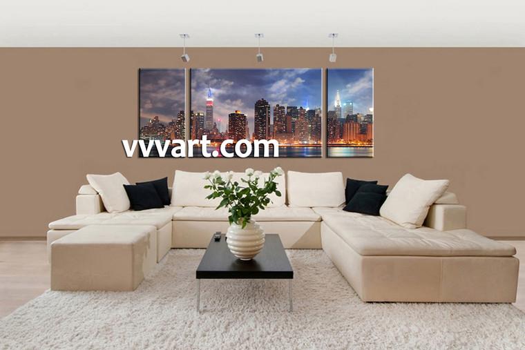 Living Room Art, 3 piece canvas art prints,canvas print, city scape artwork, city large pictures, city art