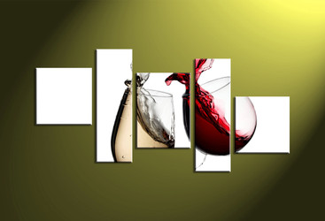 Home wall art,5 piece wall art, 5 piece multi panel art, wine large pictures, white wine photo canvas
