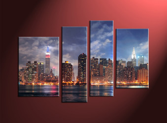 Home Décor, 4 Piece Wall Art, city multi panel art, city photo canvas, city scape huge pictures
