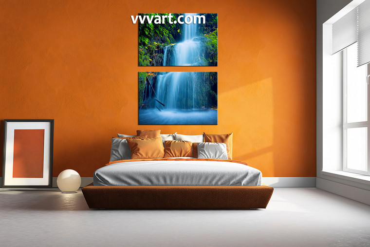 bedroom wall decor, 2 piece canvas wall art, nature multi panel canvas, waterfall huge pictures, scenery art