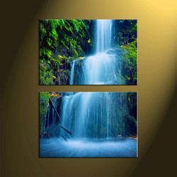2 Piece Green Scenery Prints, Waterfall Nature Vertical Waterfall Artwork