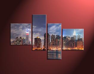 Home Decor, 4 Piece Wall Art, city multi panel art, city scape photo canvas, city huge pictures