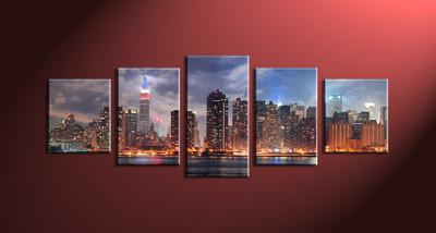 Home Décor, 5 piece canvas wall art,city multi panel canvas, city scape pictures, city art