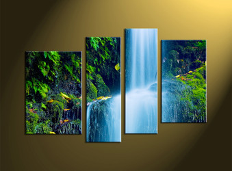 4 Piece Green Scenery Waterfall Pictures