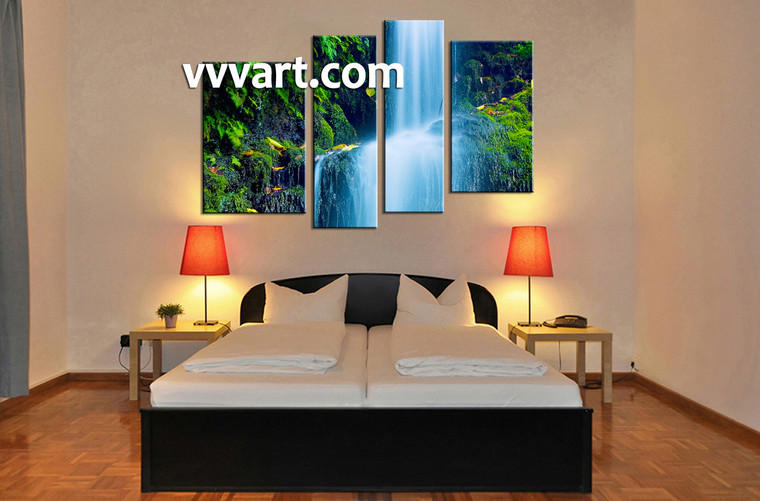 bedroom wall decor, 4 piece canvas wall art, nature multi panel canvas, waterfall huge pictures, landscape canvas print