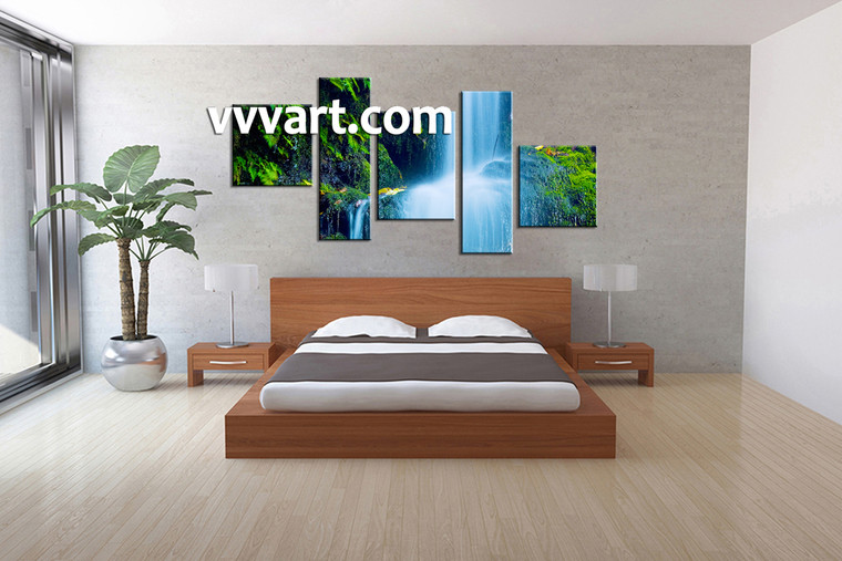 scenery large canvas , bedroom wall art, 5 piece canvas art prints, waterfall canvas print, nature artwork