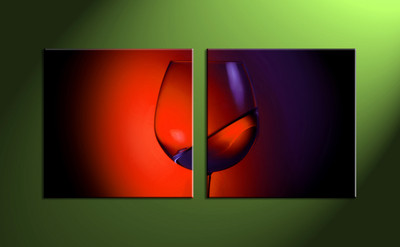 home decor,2 piece wall art, wine multi panel art,scenery canvas print, wine wall art