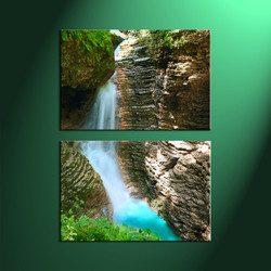 2 Piece Brown Canvas Scenery Waterfall Vertical Forest Art