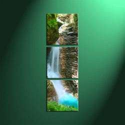 Home Decor, 3 Piece Wall Art, landscape multi panel art, forest large canvas, waterfall decor