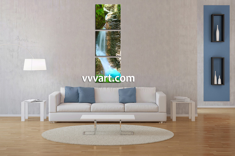 Living Room Wall Art, 3 Piece Wall Art, landscape multi panel art, forest photo canvas, waterfall wall art