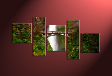 5 Piece Green Scenery Waterfall Artwork