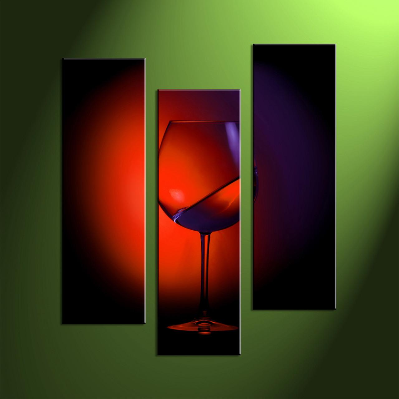 3 Piece Red Wine Multi Panel Canvas