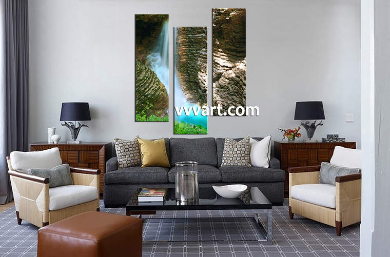 Living Room Wall Decor, 3 Piece Wall Art, landscape multi panel art, forest photo canvas, waterfall art