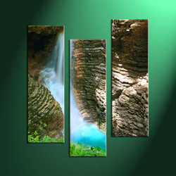 3 Piece Brown Scenery Art,Waterfall Large Pictures Prints