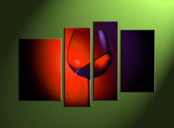 home decor,4 piece canvas wall art, wine multi panel art, kitchen canvas print, wall artwork