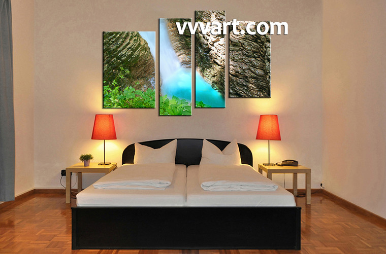 Bedroom Wall Art, 4 piece canvas art prints, landscape canvas print, forest pictures, waterfall canvas wall art