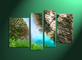 4 Piece Brown Scenery Forest Waterfall Photo Canvas