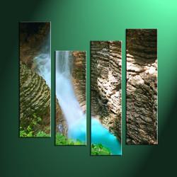 Home Decor, 4 Piece Wall Art, landscape multi panel art, forest large canvas, waterfall huge canvas art