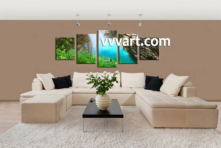 Living Room Wall Decor, 5 Piece Wall Art, landscape pictures, forest multi panel art, waterfall huge canvas art