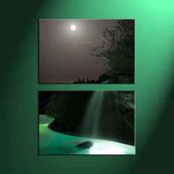 2 Piece Green Waterfall Canvas Landscape Moon Vertical Wall Art