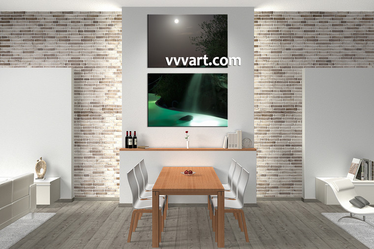 Dining room decor, 2 piece canvas wall art, waterfall huge pictures, landscape large pictures, scenery artwork