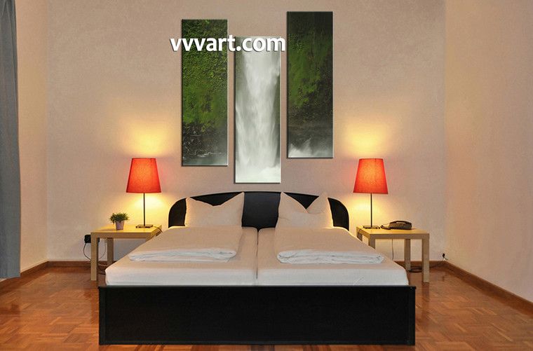 Bedroom pictures, 3 piece canvas art prints, landscape wall art, forest canvas wall art, waterfall art
