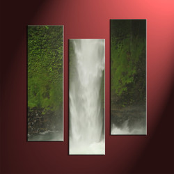 3 Piece Green Scenery Art Prints,Waterfall Photo Canvas