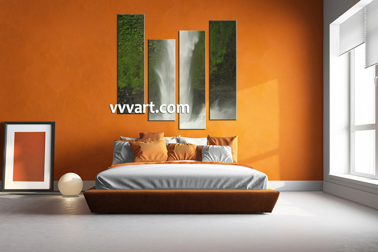 Bedroom pictures, 4 piece canvas art prints, landscape wall art, forest canvas wall art, waterfall artwork