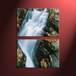 Home Decor, 2 Piece Wall Art, landscape multi panel art, forest art, waterfall artwork