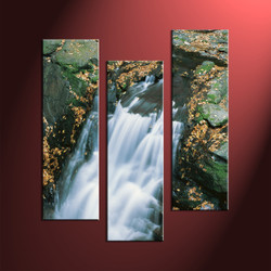 Home Decor, 3 Piece Wall Art, landscape multi panel art, forest wall decor, waterfall artwork