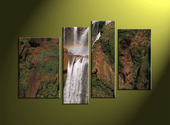 Home Decor, 4 Piece Wall Art, landscape multi panel art, forest wall decor, waterfall artwork