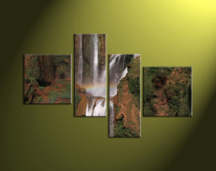 4 Piece Brown Landscape Scenery Waterfall Artwork