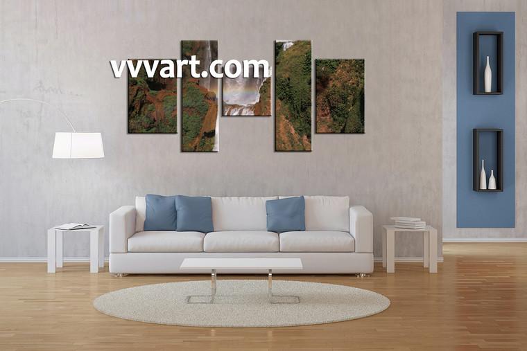 Living Room huge canvas art, 5 Piece Wall Art, forest art, scenery wall art