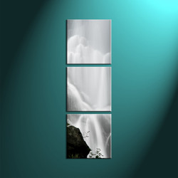 Vertical Triptych Waterfall Wall Art,White Canvas Scenery Artwork