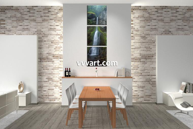 Dining Room Wall Art, 3 piece canvas art prints, nature huge canvas art, forest artwork, waterfall art